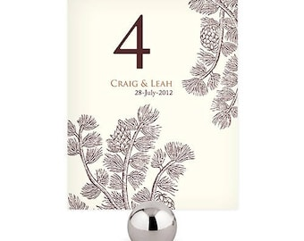 Evergreen Personalized Wedding Table Numbers