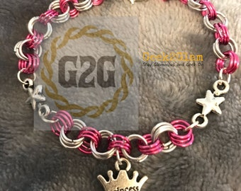 Girl's Star Princess Pink and Silver Chainmail Bracelet