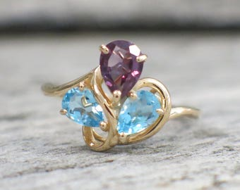 Amethyst and Topaz Pear 14k Yellow Gold Ring