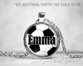 Soccer Necklace - Personalized Soccer Necklace - Glass Dome Necklace - Custom Soccer Pendant - Sports Necklace