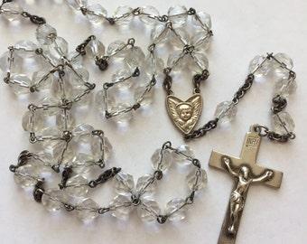 Vintage ESTATE Sterling Silver Crystal Bead Catholic Rosary LS