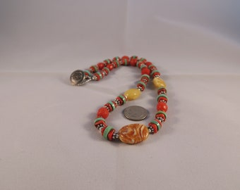 Baltic Amber, Turquoise and Coral Necklace