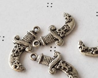Antiqued silver Sword charms (4)