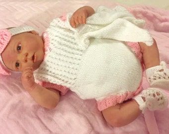 Baby Knitting Patterns  Romper, Cardi, Shoes and Hairband Prem size