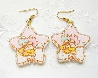 Kawaii Twin Stars Earrings / Kawaii Earrings / Star Earrings / Cute Earrings / Harajuku / Fairy Kei / Resin / Earrings