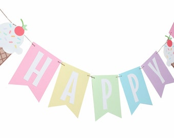 Ice Cream Birthday Banner - Ice Cream Party Banner - Ice Cream Party - Sundae Party Banner - Ice Cream Cone Banner - Ice Cream Decoration