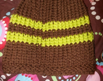 Handmade Brown and Green striped hat