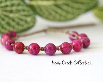 Ruby Agate, Bead Crochet Bracelet, Dark Pink, Stacking, Adjustable, Layering, Boho Style Jewelry, Gemstone, Bohemian, Bead and Cord Jewelry