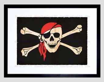 Painting Jolly Roger Flag Crossbones Skull Pirate Ship Poster Print FEBMP11175
