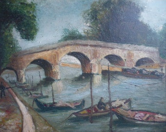 The river Seine oil painting Paris France the Pont Royal Royal Bridge the quay fisherman boats barge oil on cardboard,1930 Paris souvenir