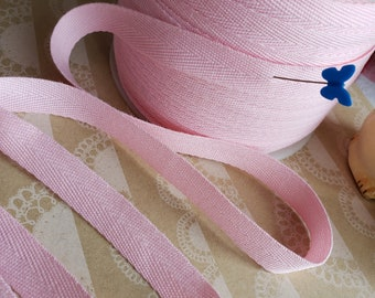"""LIGHT PINK Twill Tape Trim - Polyester Sewing Bunting Shipping Packaging - 1/2"""" Wide - 10 Yards"""