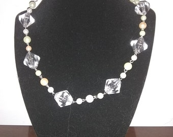 Chunky Diamond-Shaped Clear Beaded Necklace