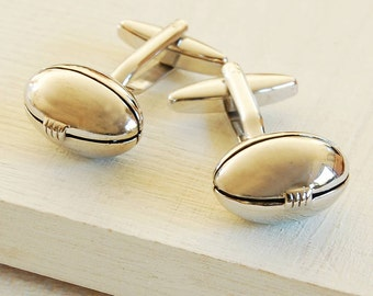 Rugby Ball Cufflinks - Highest Quality - Novelty and Humorous Cufflinks - Wedding