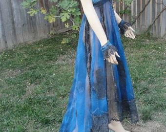 Medium Large size 6 blue anb black hand painted wedding dress dia de los muertos day of the dead / costume gown small medium mardi gras