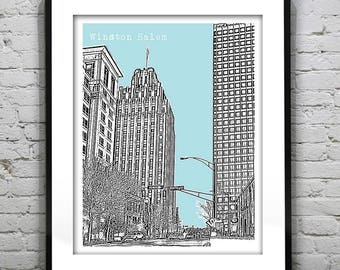 Winston-Salem Art Print Poster Original North Carolina NC Version 3