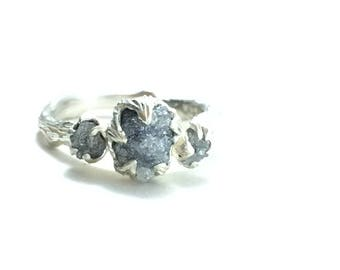 Twig engagement ring Nature jewelry Raw diamond engagement ring