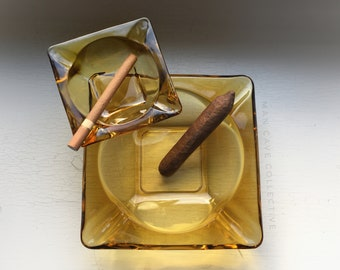 His Hers Cigar Ashtray Yellow Square Glass Vintage 1960's Mid Century Modern Smoking Smoker's Decor Set Large & Small