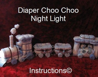 Instructions - Diaper Choo Instructions for Choo Train Night Light Diaper Cake. Learn how to make fr.Diapers - GR8 for Baby Keepsake.