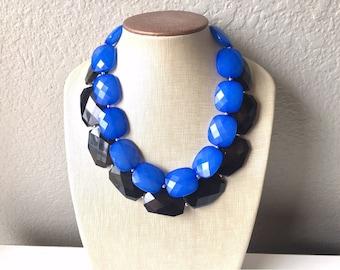 Black & Blue Necklace, multi strand jewelry, big beaded chunky statement necklace, black necklace, black jewelry, blue necklace, black