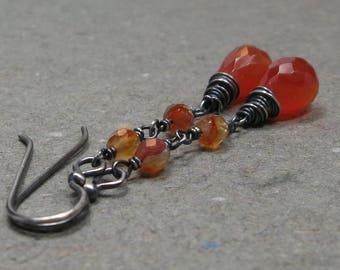 Carnelian Earrings Orange Gemstone Dangle Oxidized Sterling Silver Gift for Her