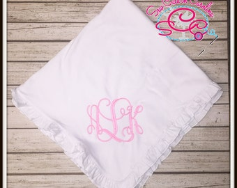 Personalized Ruffle Baby Blanket