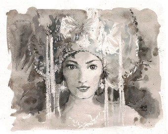 Russian beauty - original fashion illustration