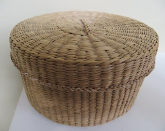 Vintage Woven Basket with lid ASIAN made Finely woven Sweet Grass 6 by 3 Great shape