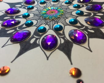 Hand-drawn Mandala with Gems