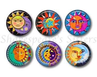 Colorful Sun and Moon Magnets - Refrigerator Magnets - Set of 6 Magnets - 1.5 Inch Magnets - Artsy Kitchen
