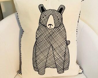 Woodland bear pillow