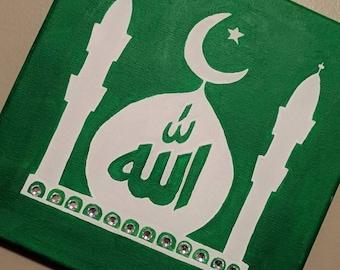 Qibla direction Allah Masjid Painting, Islam, religion, namaaz frame, sign