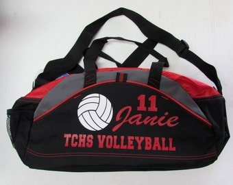 Custom VOLLEYBALL Duffle Bag in Red, Blue Black or NEON Lime with Custom Personalized Lettering in Glitter or Solid Colors