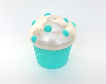 Teal Polka-Dotted Cupcake Trinket Box
