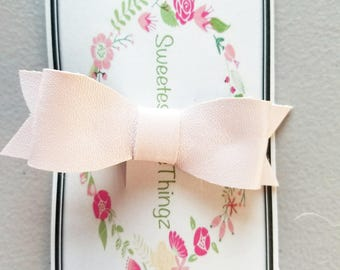 Ballerina pink faux leather baby bow
