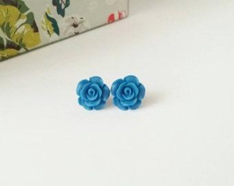 Blue stud earrings, Blue studs, blue flower studs, rose studs, flower earrings, small rose earrings, resin rose earrings, blue rose earrings