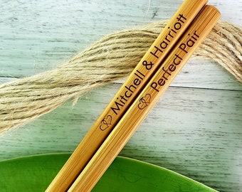 Personalised Engraved Bamboo Wedding Favour Chopsticks with double hearts