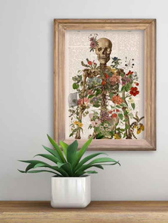 Skeleton covered with flowers. Bones study art. Wall decor, Anatomical art decor, anatomical art, Wall decor flowers, Medical gift SKA146PA3