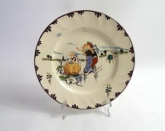 French Antique Creil et Montereau Hand Decorated Plate Richard Froment c. 1900