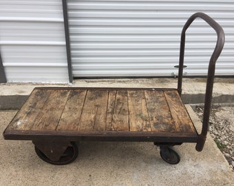 Vintage Industrial Factory Warehouse Cart Removable Handle, Repurposed Coffee Table, Steampunk, Large Casters - PICK UP ONLY