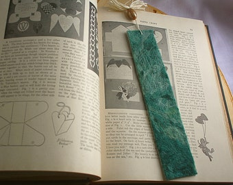 Felted Green Wool Bookmark