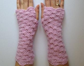 SALE .womens merino/angora pink fingerless gloves. ladies gloves. Ready to ship.