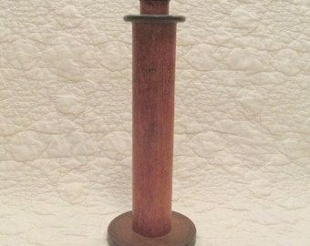 Large Vintage Textile Spool Wood Perfect Candle Holder nice patina SALE
