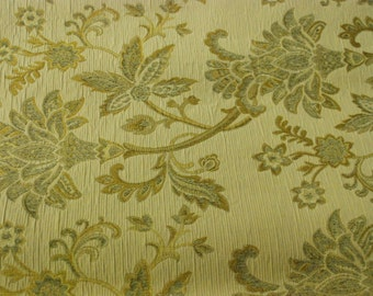 Beige and Light Grey/Blue Floral Upholstery Fabric - Upholstery Fabric By The Yard
