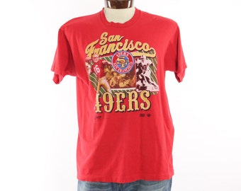 Vintage 90s San Francisco 49ers T Shirt Joe Montana Screen Tee Football NFL Athletic Shirt Short Sleeve T Shirt 1990s XL Mens Red Shirt