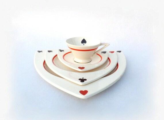 & Salem China Atomic Art Deco Dinnerware Set for 4 MCM Tricorne