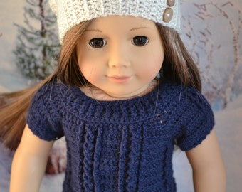 18 inch Doll Clothes - Crocheted Cable Sweater - Navy Blue - MADE TO ORDER - fits American Girl