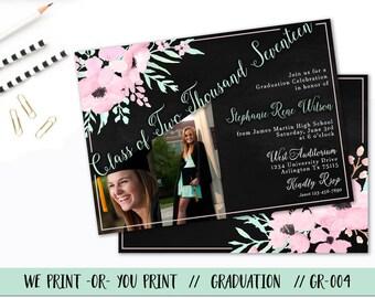 Graduation Invitation, Graduation Party Invitation, Graduation Announcement, High School Graduation,  Mint Graduation Invitation