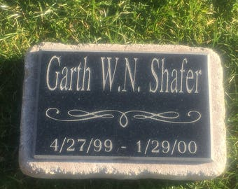 Grave marker, cemetery headstone, engraved black granite