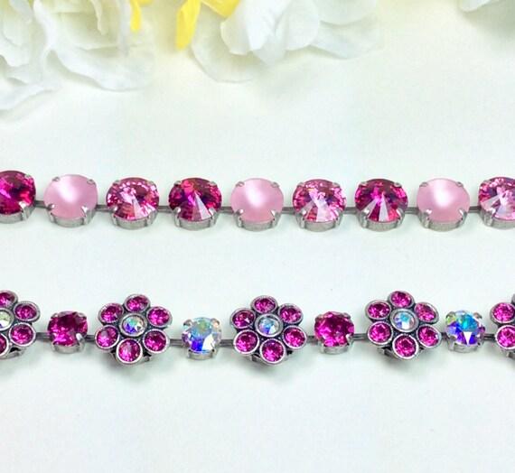 Swarovski Crystal Flowers Bracelet -  Fun & Happy - Fuchsia Spring Flowers and Multi- Pinks Wrist Candy - Designer Inspired - FREE SHIPPING