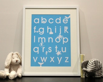 Alphabet A3 screenprint in blue or pink with cute animal characters – Limited edition